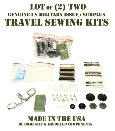 LOT of 2 US MILITARY 38 PIECE TRAVEL SEWING KITS THREAD BUTTONS NEEDLES SCISSORS
