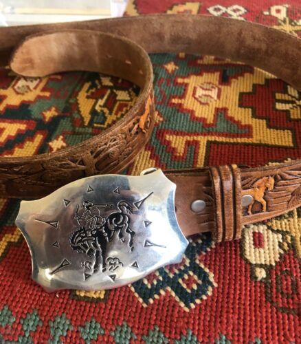 Chamber Belt Company Cowboy Western HORSE Hand-Tooled Leather Belt Sz 36