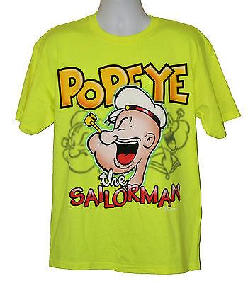 Popeye T-shirt Tee - Popeye the Sailorman T-shirt Classic Graphic Tee Yellow Cotton NWT