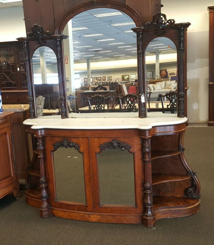 Antique Sideboard with Mirror and Marble Top