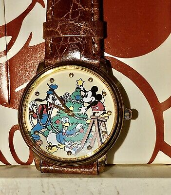 Disney Mickey Mouse Donald Duck Goofy Christmas Watch and Display Book Vintage