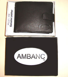 GENUINE LEATHER MENS WALLET AMBANC BRANDED 16 CARDS BLACK (MLW-03)