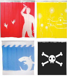 KIKKERLAND-SHOWER-CURTAINS-PSYCHO-JOLLY-ROGER-SKULL-JAWS-YELLOW-SUBMARINE-GIFT