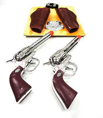 Western Cowboy Clicker Hand Gun Toy Play Set Pistol Holster Sheriff Badge Boy 3+
