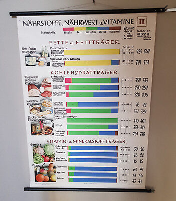 NÄHRSTOFFE Nährwert Vitamine Rollkarte Wandkarte Lehrkarte Schulwandkarte