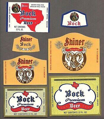 5 Diff Shiner Bock Beer Label, non - IRTP, Spoetzl Brewery, Shiner, TX