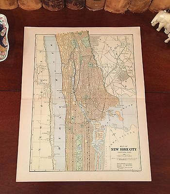 Original 1885 Antique Map NEW YORK CITY Shows Central Park & Historic Landmarks