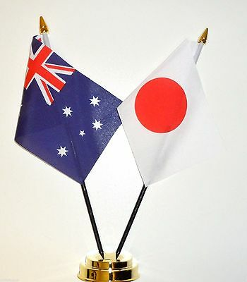 Australia & Japan Double Friendship Table Flag Set