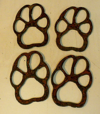 Lot of 4 Dog Paws Pet Feet 3 in Rough Rusty Vintage Metal Art Ornament Stencil