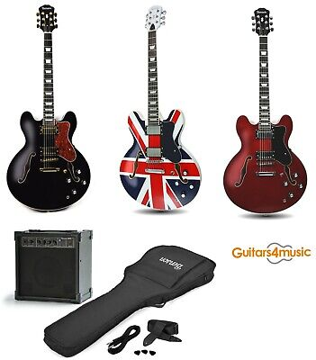 BRAND NEW BENSON ES 335 SEMI HOLLOW BODY SEMI ACOUSTIC ELECTRIC GUITAR PACKAGE