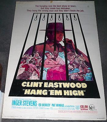 Hang Em High Original 1968 Large Rolled 40X60 Movie Poster Clint Eastwood
