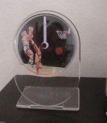 Vintage Sports Clock Novelty Tabletop Desk Turning Disc BasketBall & Player MIB