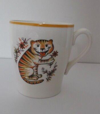 Vintage Retro 50's/60's KSP Child's Cream Tiger Motif Mug