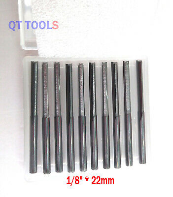 10pcs Double Two Flute Straight Slot Cnc Router Bits Wood Mdf Milling 18 22mm