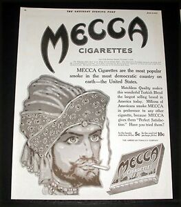 1915 OLD MAGAZINE PRINT AD, MECCA, MOST POPULAR CIGARETTE ...
