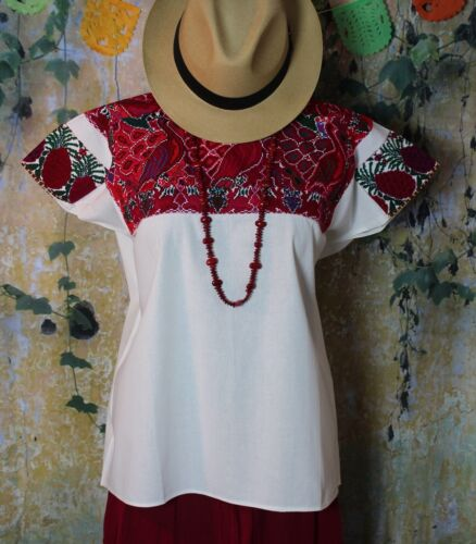 L/XL Hand Embroidered Huipil Tunic El Bosque Chiapas Mexico Peacocks & Rabbits