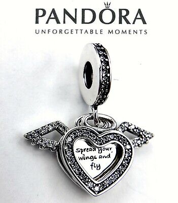 Pandora Silver 925 ALE Heart & Angel Wings Dangle Charm 798485C01CZ
