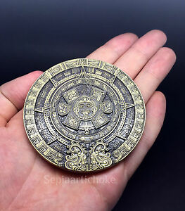 Mayan Calendar Giant Coin Solid Heavy 202 Grams Plaque Bronze Aztec Pyramid MINT