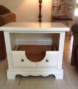 Refurbished side table made into pet bed