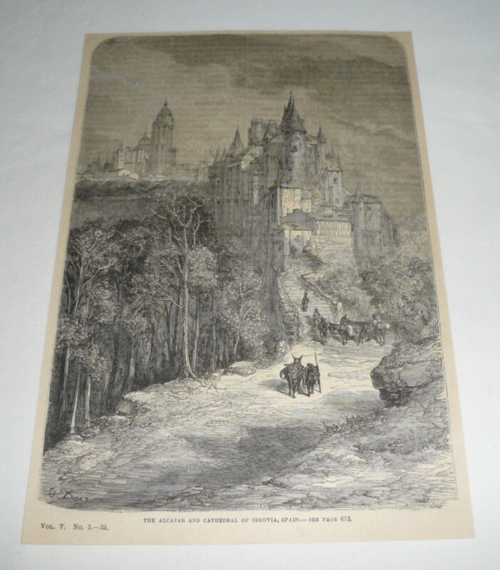 1879 magazine engraving ~ THE ACAZAR AND CATHEDRAL OF SEGOVIA Spain