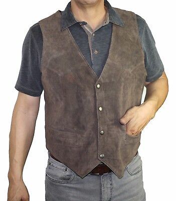Men's genuine soft suede brown color snap closure vest