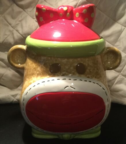 REAL HOME Girl Sock Monkey Earthenware Cookie Jar Storage Container Rubber Seal