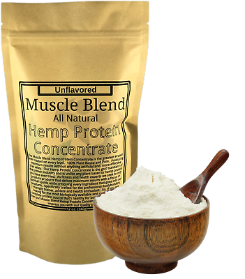 Muscle Blend Hemp Protein Concentrate 12 oz Zipper Pouch, All Natural, Vegan