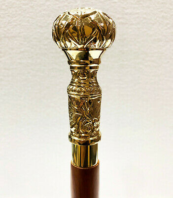 Antique Brass Knob Designer Handle Handmade Wood Walking Stick Cane Gift for sale  Shipping to Canada