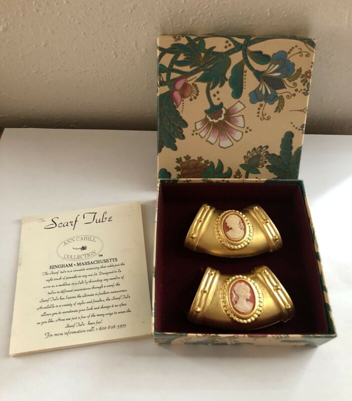 ANN CAHILL Set of 2 Cameo Brushed Gold Tone Scarf Tubes w/ Instructions