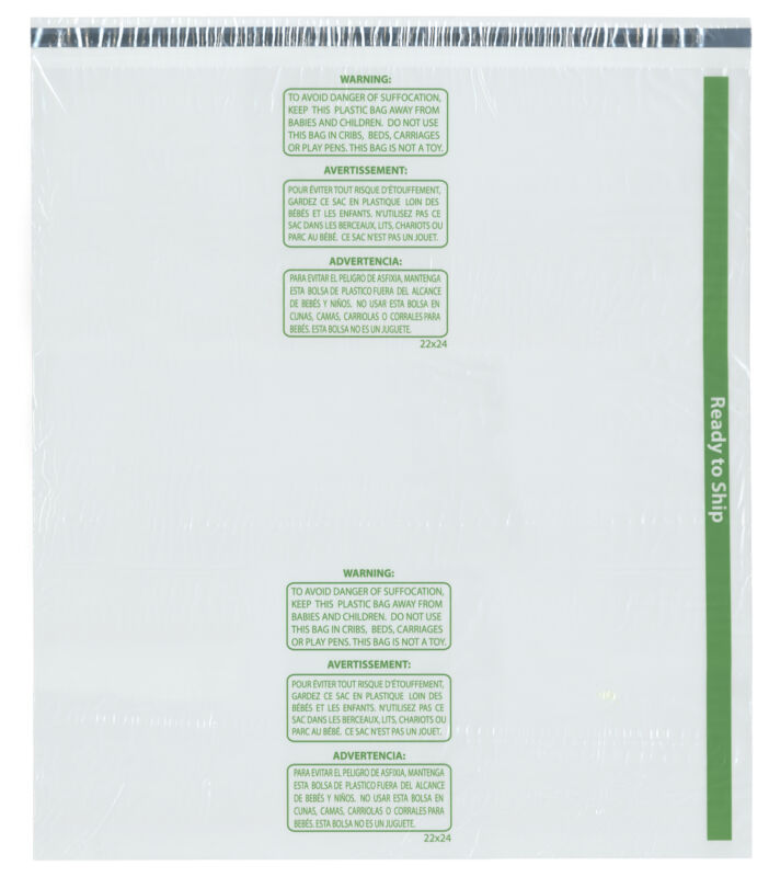 "Plymor Ready to Ship 1.5 Mil Wicketed Plastic Bags, 22"" x 24"" (Pack of 100)"
