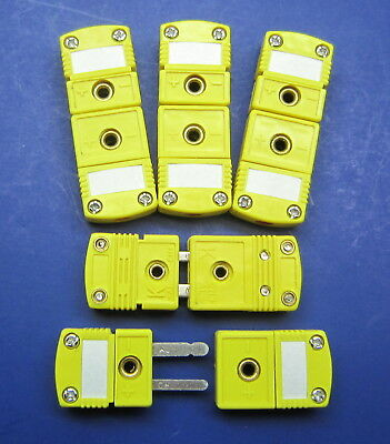 Premium Mini K-type Thermocouple Wire Cable Connector Plug - 5 Sets Male Female