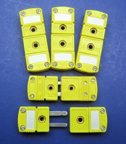 Premium Mini K-Type Thermocouple Connector Wire Cable Plug - 5 Sets Male Female