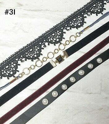 FIVE CHOKERS VELVET LACE AND LEATHER NECKLACES
