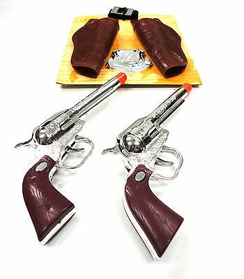 Western Cowboy Clicker Hand Gun Toy Play Set Pistol Holster Sheriff Badge Boy 3+