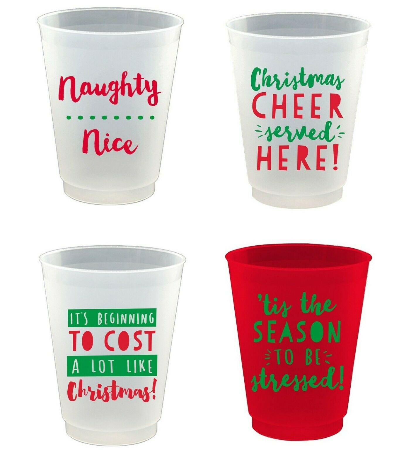 Christmas Beer/Cocktail Plastic Cups, Dishwasher Safe, Packa