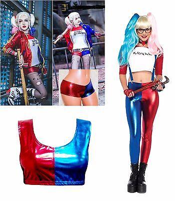 Harley Quinn Costume Pants (Ladies Suicide Squad Party Harley Quinn Costume Shorts Crop Top Leggings)