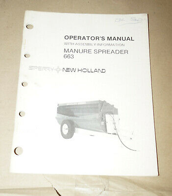 Sperry New Holland Manure Spreader 663 Operators Manual Pn 43066310