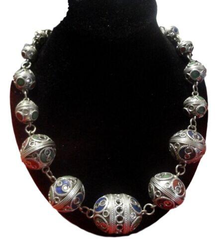 Moroccan african Berber enameled artisan necklace