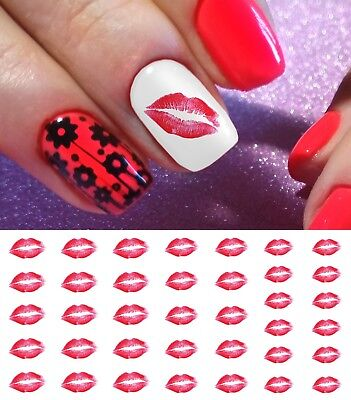 Kiss Lips Nail Art Waterslide Decals- Great for Valentines Day! Salon -