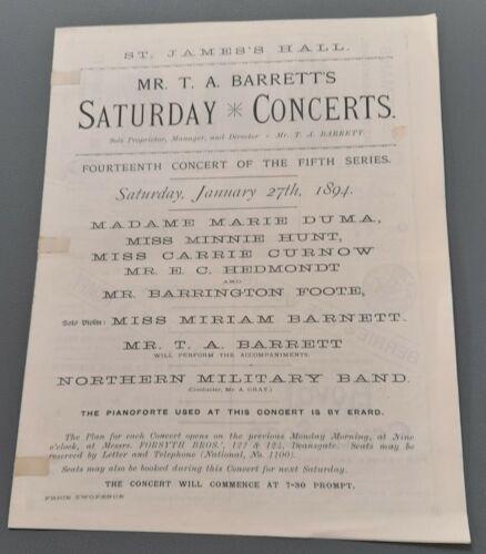 January 1894 Mr. T.A. Barrett`s Saturday Concerts Prog Manchester Miriam Barnett