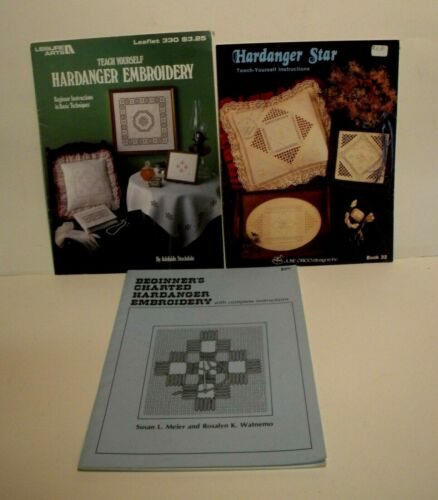 Lot of 3 HARDANGER EMBROIDERY BOOKS