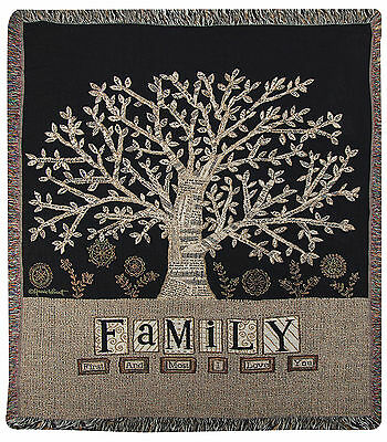 THROWS - FAMILY TREE TAPESTRY THROW BLANKET - 50