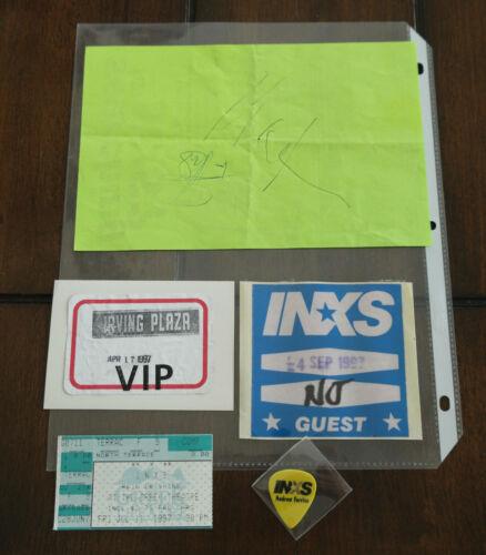 1997 INXS tickets pass , guitar pick & autographs LOT