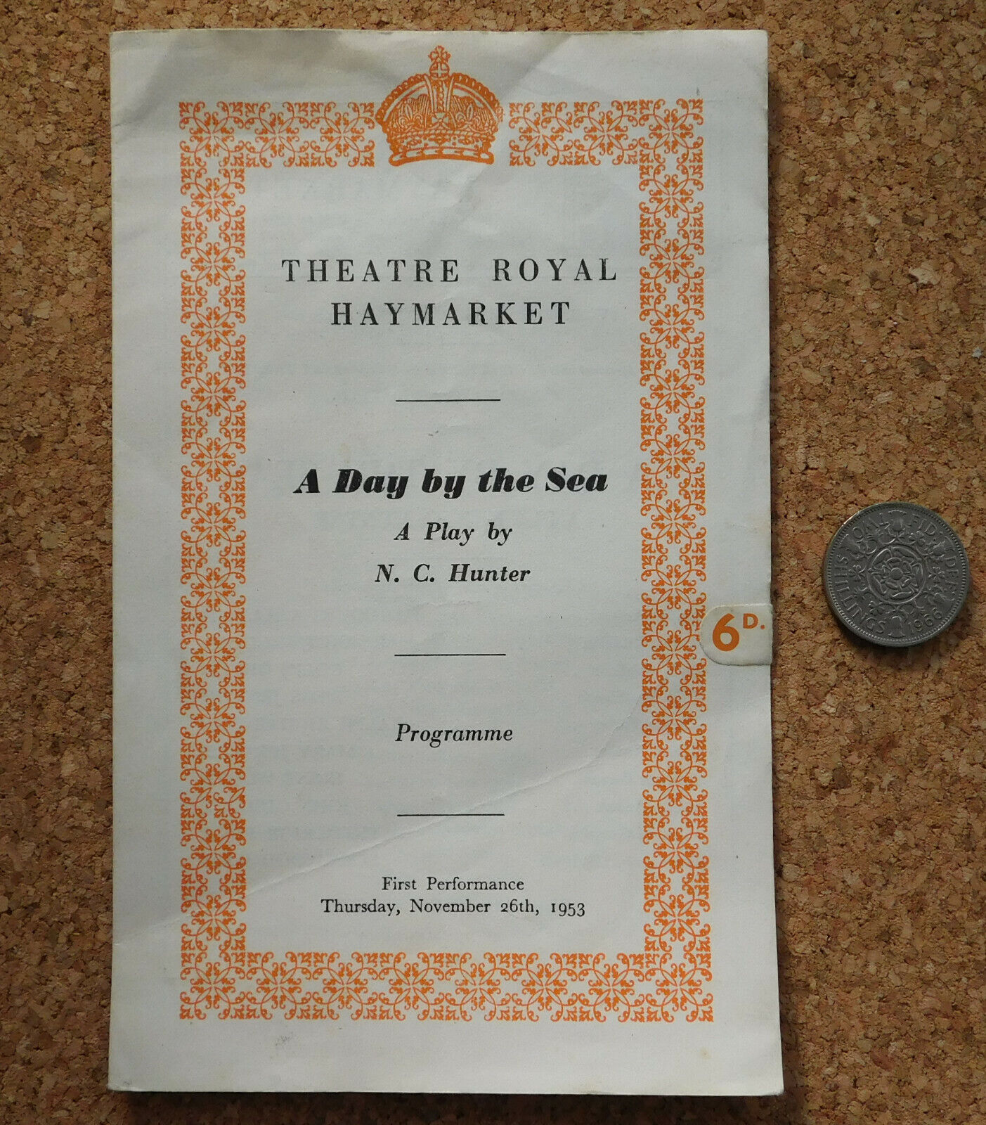 Theatre Royal play programme vintage 1950s A Day by the Sea Hunter Gielgud 1953