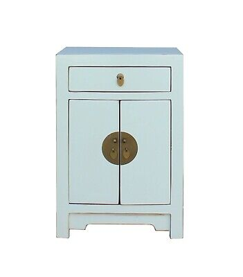 Oriental Off White Lacquer Round Moon Face End Table Nightstand (Asian Round Face)
