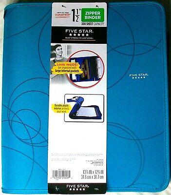 Mead Five Star 1.5 300 Sheet Capacity 3 Ring Zipper Binder Expanding File Teal