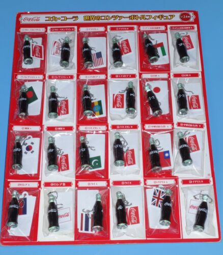 Coca Cola World Contour Bottle Figure Key Chain set of 24