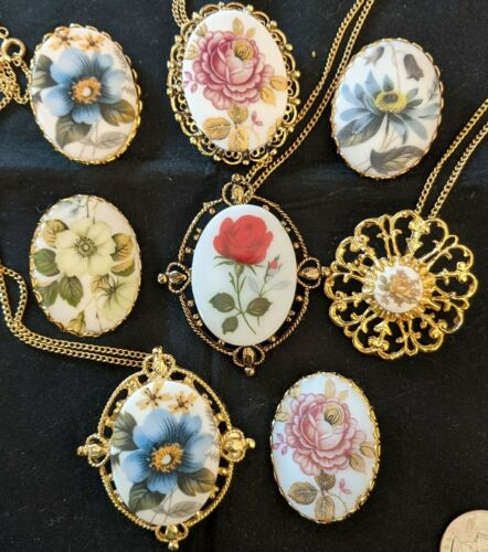 Set of 8 Vintage Cameo Gorgeous Rose Flower Brooch Pin Necklace Pendant NOS