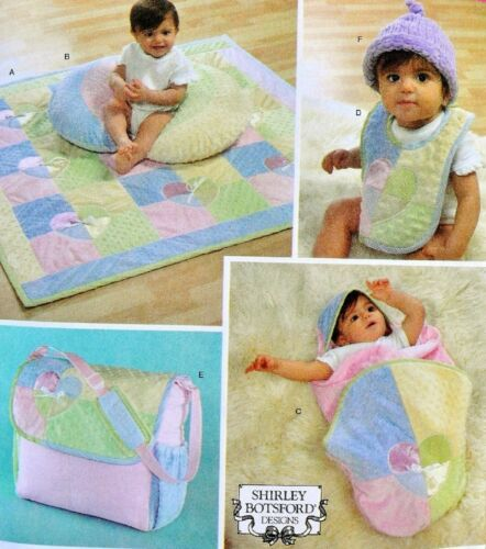 Simplicity 4202 Baby Quilt Bunting Bib Bag Knitted Hat Craft Sewing Pattern FF