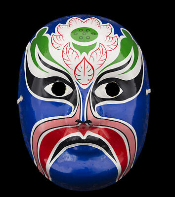 Mask Opera Beijing Chinese in Paper Mache and Plaster Blue 1664